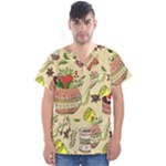 Colored Afternoon Tea Pattern Men s V-Neck Scrub Top
