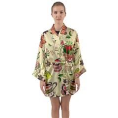 Colored Afternoon Tea Pattern Long Sleeve Kimono Robe