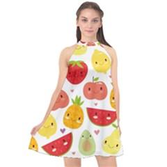 Happy Fruits Pattern Halter Neckline Chiffon Dress  by OregonBigfootShirts