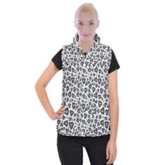 Leopard Heart 02 Women s Button Up Puffer Vest