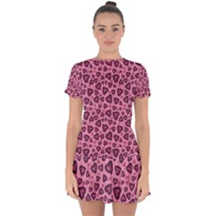 Leopard Heart 03 Drop Hem Mini Chiffon Dress