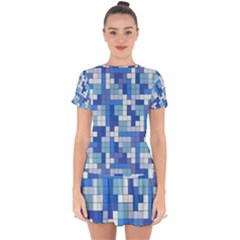 Tetris Camouflage Marine Drop Hem Mini Chiffon Dress by jumpercat