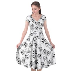 A Lot Of Skulls White Cap Sleeve Wrap Front Dress by jumpercat