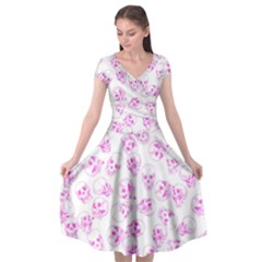 A Lot Of Skulls Pink Cap Sleeve Wrap Front Dress by jumpercat