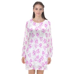 A Lot Of Skulls Pink Long Sleeve Chiffon Shift Dress  by jumpercat