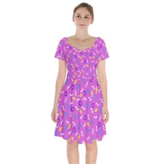 Retro Wave 2 Short Sleeve Bardot Dress by jumpercat