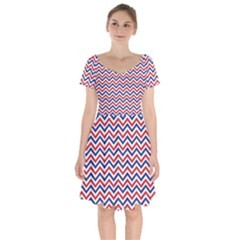 Navy Chevron Short Sleeve Bardot Dress by jumpercat