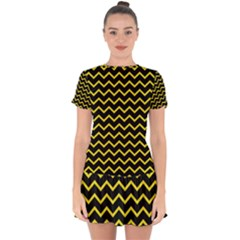 Yellow Chevron Drop Hem Mini Chiffon Dress by jumpercat