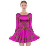 Sweet Hearts In  Decorative Metal Tinsel Long Sleeve Skater Dress