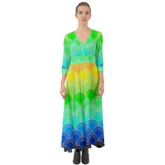 Art Deco Rain Bow Button Up Boho Maxi Dress by 8fugoso