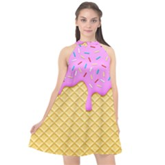 Strawberry Ice Cream Halter Neckline Chiffon Dress  by jumpercat
