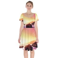 California Sea Ocean Pacific Short Sleeve Bardot Dress by BangZart