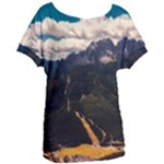 Italy Valley Canyon Mountains Sky Women s Oversized Tee