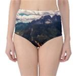 Italy Valley Canyon Mountains Sky High-Waist Bikini Bottoms