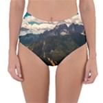 Italy Valley Canyon Mountains Sky Reversible High-Waist Bikini Bottoms