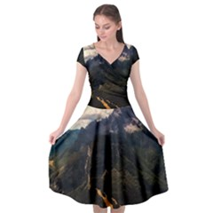 Italy Valley Canyon Mountains Sky Cap Sleeve Wrap Front Dress by BangZart
