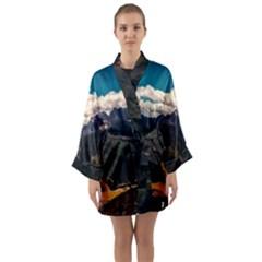 Italy Valley Canyon Mountains Sky Long Sleeve Kimono Robe