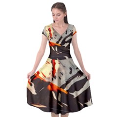 Iceland Landscape Mountains Snow Cap Sleeve Wrap Front Dress by BangZart