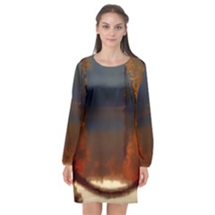 River Water Reflections Autumn Long Sleeve Chiffon Shift Dress