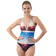 Iceland Landscape Mountains Stream Halter Cut-out One Piece Swimsuit by BangZart