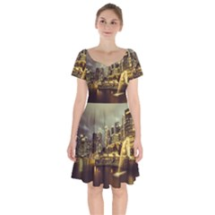 Singapore City Urban Skyline Short Sleeve Bardot Dress by BangZart