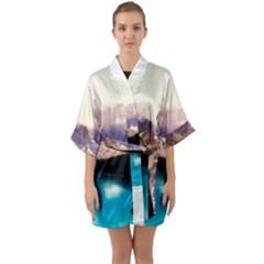 Austria Mountains Lake Water Quarter Sleeve Kimono Robe by BangZart
