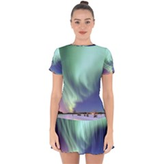 Aurora Borealis Alaska Space Drop Hem Mini Chiffon Dress