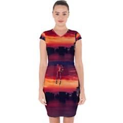 New York City Urban Skyline Harbor Capsleeve Drawstring Dress  by BangZart