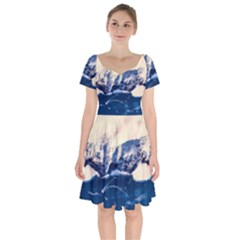 Antarctica Mountains Sunrise Snow Short Sleeve Bardot Dress