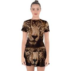 Jaguar Water Stalking Eyes Drop Hem Mini Chiffon Dress by BangZart