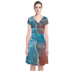 Sea Ocean Coastline Coast Sky Short Sleeve Front Wrap Dress