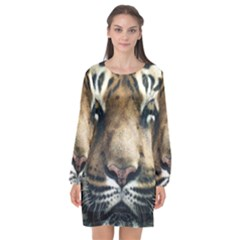 Tiger Bengal Stripes Eyes Close Long Sleeve Chiffon Shift Dress  by BangZart