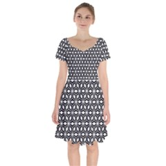 Asterisk Black White Pattern Short Sleeve Bardot Dress by Cveti