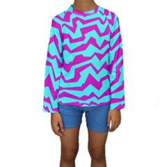 Polynoise Shock New Wave Kids  Long Sleeve Swimwear by jumpercat