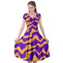 Polynoise Pumpkin Cap Sleeve Wrap Front Dress View1