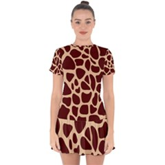 Animal Print Girraf Patterns Drop Hem Mini Chiffon Dress by BangZart