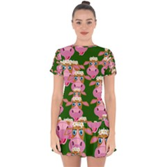 Seamless Tile Repeat Pattern Drop Hem Mini Chiffon Dress by BangZart