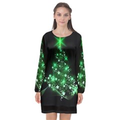 Christmas Tree Background Long Sleeve Chiffon Shift Dress  by BangZart