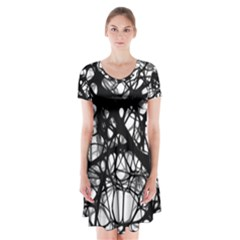Neurons Brain Cells Brain Structure Short Sleeve V Neck Flare Dress by BangZart
