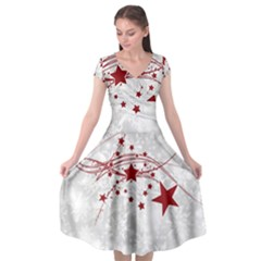 Christmas Star Snowflake Cap Sleeve Wrap Front Dress by BangZart