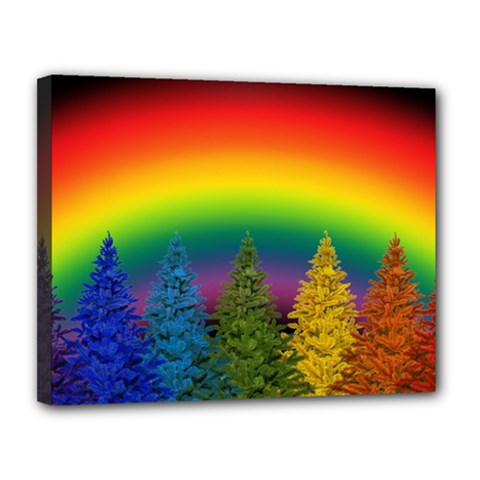 Christmas Colorful Rainbow Colors Canvas 14  X 11