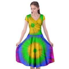 Spot Explosion Star Experiment Cap Sleeve Wrap Front Dress