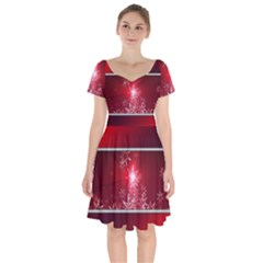 Christmas Candles Christmas Card Short Sleeve Bardot Dress by BangZart