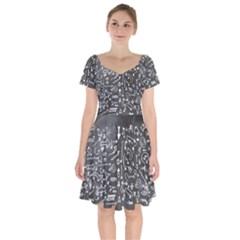 Arrows Board School Blackboard Short Sleeve Bardot Dress by BangZart