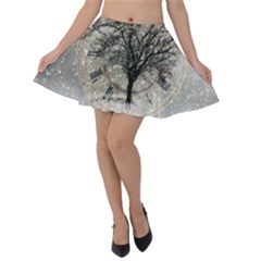 Snow Snowfall New Year S Day Velvet Skater Skirt