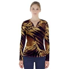 Pattern Tiger Stripes Print Animal V Neck Long Sleeve Top by BangZart