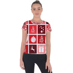 Christmas Map Innovative Modern Short Sleeve Sports Top  by BangZart