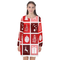 Christmas Map Innovative Modern Long Sleeve Chiffon Shift Dress  by BangZart