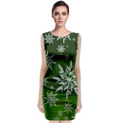 Christmas Star Ice Crystal Green Background Classic Sleeveless Midi Dress by BangZart