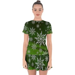 Christmas Star Ice Crystal Green Background Drop Hem Mini Chiffon Dress by BangZart
